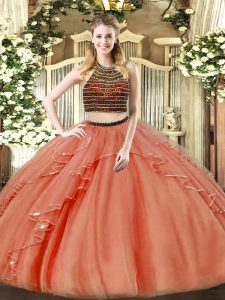 Floor Length Rust Red Sweet 16 Quinceanera Dress Halter Top Sleeveless Zipper