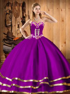 Purple Sleeveless Floor Length Embroidery Lace Up Sweet 16 Quinceanera Dress