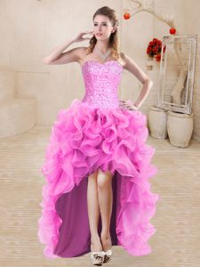 Trendy Rose Pink A-line Sweetheart Sleeveless Organza High Low Lace Up Beading and Ruffles