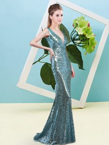 Teal Mermaid Sequined V-neck Sleeveless Sequins Floor Length Zipper Prom Gown