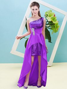 Excellent High Low A-line Sleeveless Eggplant Purple Dress for Prom Lace Up