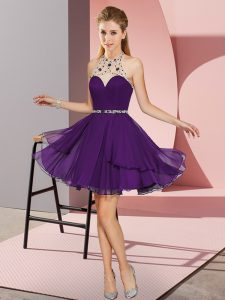 Cheap Beading Homecoming Dress Purple Zipper Sleeveless Mini Length
