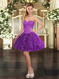 Purple Sweetheart Neckline Beading and Ruffles Prom Gown Sleeveless Lace Up