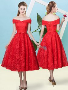 Unique Off The Shoulder Cap Sleeves Bridesmaids Dress Tea Length Bowknot Red Lace