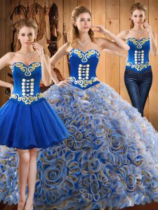 Multi-color Three Pieces Embroidery Sweet 16 Dress Lace Up Satin and Fabric With Rolling Flowers Sleeveless With Train