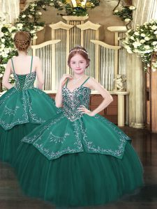 Dark Green Sleeveless Satin and Organza Lace Up Evening Gowns for Party and Quinceanera and Wedding Party