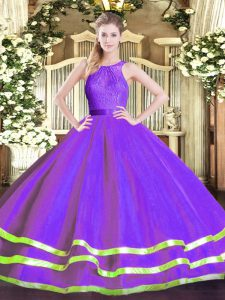 Luxury Eggplant Purple Sleeveless Tulle Zipper Quinceanera Gown for Military Ball and Sweet 16 and Quinceanera