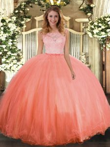 Sleeveless Tulle Floor Length Clasp Handle Sweet 16 Dresses in Orange Red with Lace