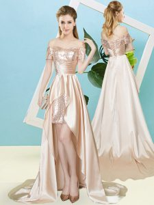 Traditional Champagne Elastic Woven Satin and Sequined Lace Up Off The Shoulder Short Sleeves High Low Prom Party Dress Sequins