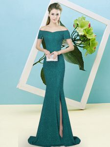 Short Sleeves Sequins Zipper Prom Gown with Turquoise Sweep Train