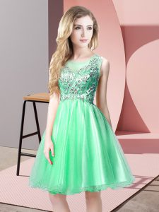 Apple Green A-line Beading Prom Dress Zipper Tulle Sleeveless Knee Length