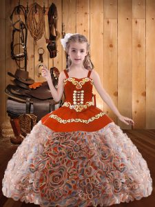 Multi-color Straps Neckline Embroidery and Ruffles Pageant Dress for Teens Sleeveless Lace Up