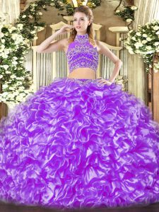 Floor Length Two Pieces Sleeveless Lavender Vestidos de Quinceanera Backless