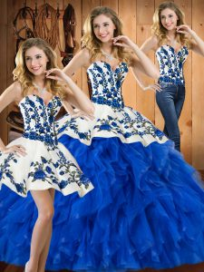 Shining Blue Satin and Organza Lace Up Sweetheart Sleeveless Floor Length Sweet 16 Dress Embroidery and Ruffles