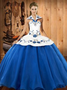 Fabulous Blue And White Ball Gowns Embroidery Vestidos de Quinceanera Lace Up Satin and Tulle Sleeveless Floor Length
