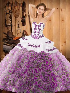 Enchanting Strapless Sleeveless Satin and Fabric With Rolling Flowers Ball Gown Prom Dress Embroidery Sweep Train Lace Up