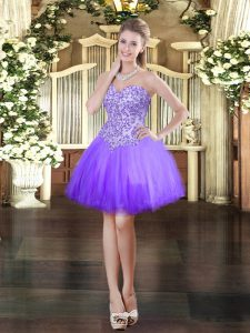Luxury Mini Length Lace Up Homecoming Dress Lavender for Prom and Party with Appliques
