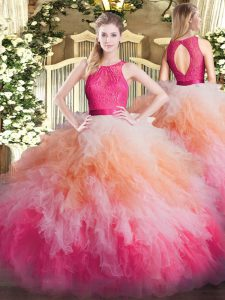 Hot Selling Organza Scoop Sleeveless Zipper Lace and Ruffles Quinceanera Dresses in Multi-color