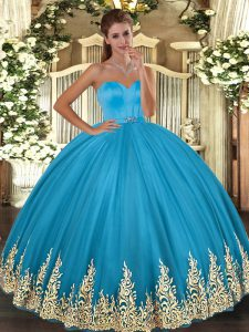 Baby Blue Tulle Lace Up Sweetheart Sleeveless Floor Length Quince Ball Gowns Appliques