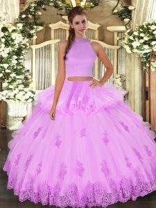 Tulle Sleeveless Floor Length Quinceanera Dress and Beading and Appliques and Ruffles