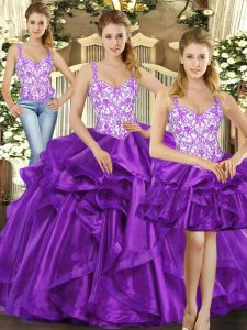 Colorful Straps Sleeveless Quinceanera Gowns Floor Length Beading and Ruffles Eggplant Purple Tulle