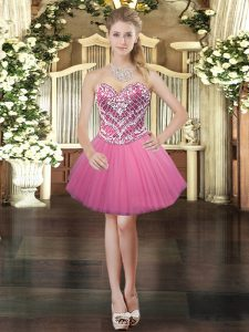 Most Popular Mini Length Ball Gowns Sleeveless Rose Pink Lace Up
