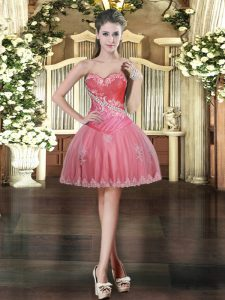 Sleeveless Mini Length Beading and Appliques Lace Up Prom Dresses with Coral Red