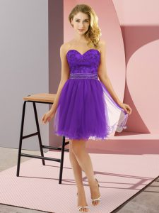 Purple Prom Dress Prom and Party with Beading Sweetheart Sleeveless Zipper