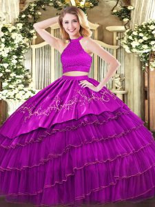 Halter Top Sleeveless Backless Quince Ball Gowns Fuchsia Organza