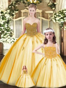Fashionable Gold Ball Gowns Beading Quinceanera Gowns Lace Up Tulle Sleeveless Floor Length