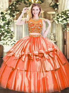 Sleeveless Tulle Floor Length Zipper Quinceanera Dress in Orange Red with Beading and Ruffled Layers