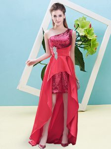 Hot Selling A-line Prom Party Dress Coral Red One Shoulder Elastic Woven Satin and Sequined Sleeveless High Low Lace Up