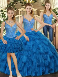 Most Popular Sleeveless Organza Floor Length Lace Up Quince Ball Gowns in Teal with Beading and Ruffles