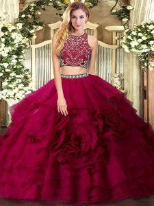 Customized Floor Length Two Pieces Sleeveless Fuchsia Sweet 16 Dresses Zipper