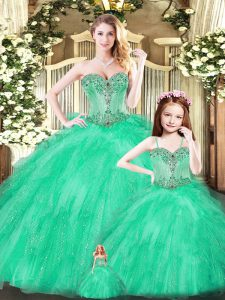 Turquoise Sleeveless Floor Length Beading and Ruffles Lace Up 15th Birthday Dress