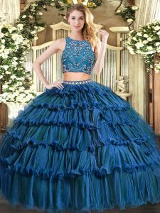 Spectacular Teal Zipper Quinceanera Dresses Beading and Ruffled Layers Sleeveless Floor Length