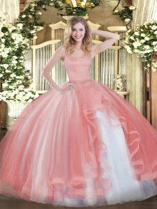 Coral Red Sleeveless Beading Floor Length Quince Ball Gowns