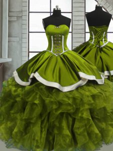 Most Popular Floor Length Olive Green 15 Quinceanera Dress Organza Sleeveless Beading and Ruffles
