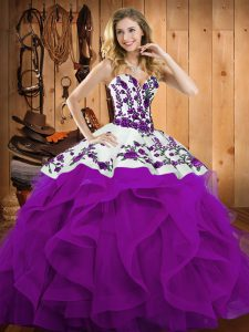 Flare Eggplant Purple Ball Gowns Satin and Organza Sweetheart Sleeveless Embroidery and Ruffles Floor Length Lace Up Sweet 16 Dress