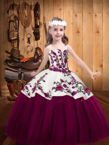 Sleeveless Tulle Floor Length Lace Up High School Pageant Dress in Fuchsia with Embroidery