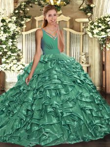 With Train Turquoise Ball Gown Prom Dress V-neck Sleeveless Sweep Train Backless