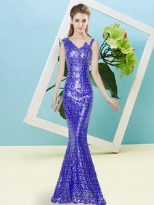 Dramatic Floor Length Mermaid Sleeveless Royal Blue Evening Dress Zipper
