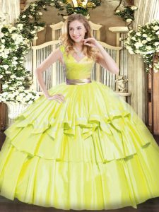 Exceptional Yellow Green Tulle Zipper Ball Gown Prom Dress Sleeveless Floor Length Beading and Ruffled Layers