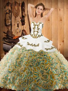Sleeveless With Train Embroidery Lace Up 15th Birthday Dress with Multi-color Sweep Train