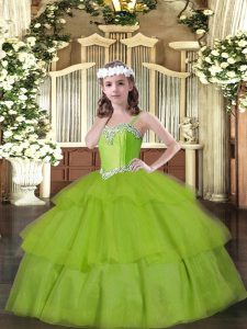 Top Selling Olive Green Organza Lace Up Straps Sleeveless Floor Length Kids Formal Wear Beading and Ruffled Layers