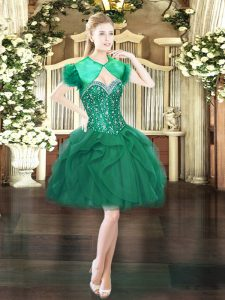 Popular Dark Green Sweetheart Neckline Beading and Ruffles Prom Dress Sleeveless Lace Up