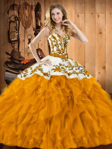 Modest Ball Gowns Quinceanera Dresses Gold Sweetheart Satin and Organza Sleeveless Floor Length Lace Up