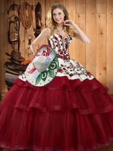 Luxury Wine Red 15th Birthday Dress Sweetheart Sleeveless Sweep Train Lace Up