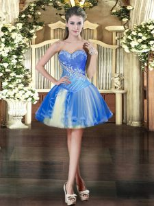 Sleeveless Mini Length Beading Lace Up Prom Dresses with Baby Blue