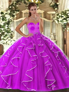 Vintage Floor Length Lace Up Sweet 16 Quinceanera Dress Fuchsia for Military Ball and Sweet 16 and Quinceanera with Beading and Ruffles